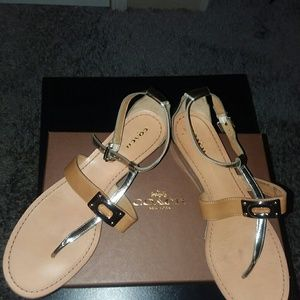 COACH Silver/Ginger Leather Wedges